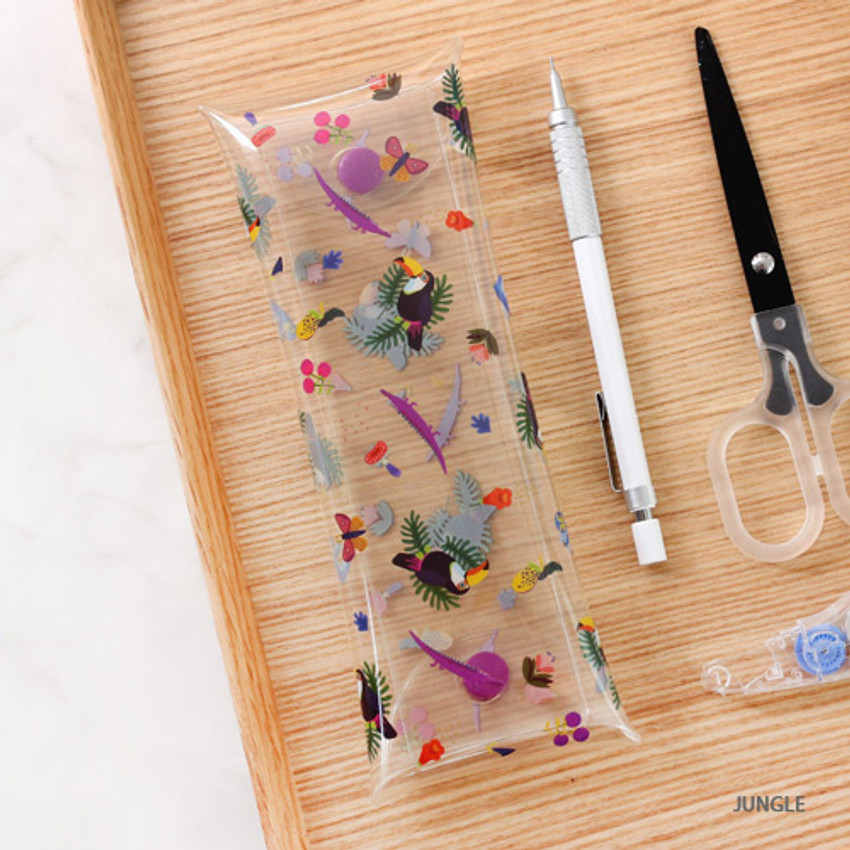 Jungle - Bon Bon clear folding pencil case