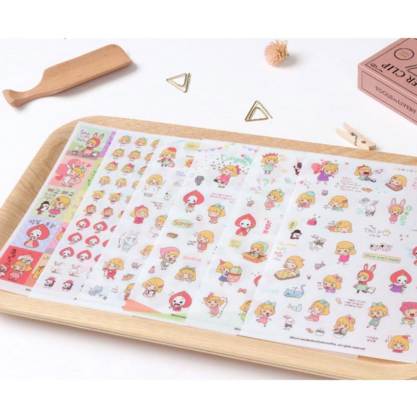 Alice in wonderland deco sticker set