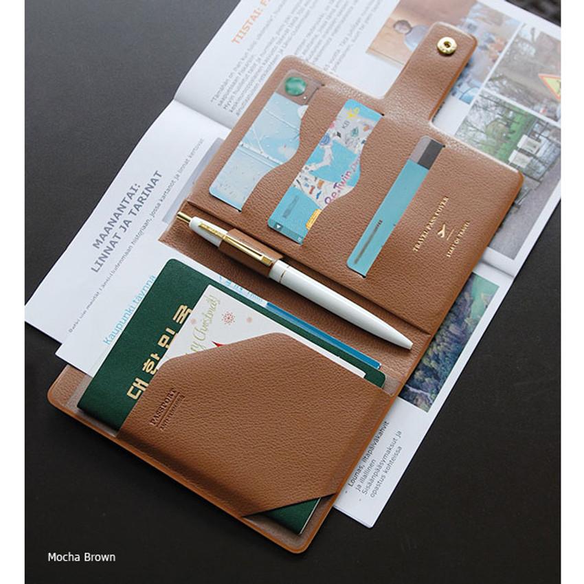 Mocha brown - Start of travel RFID blocking passport cover