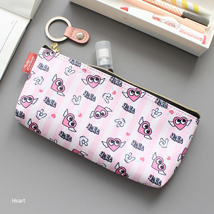Heart - Hello pattern zipper pencil case