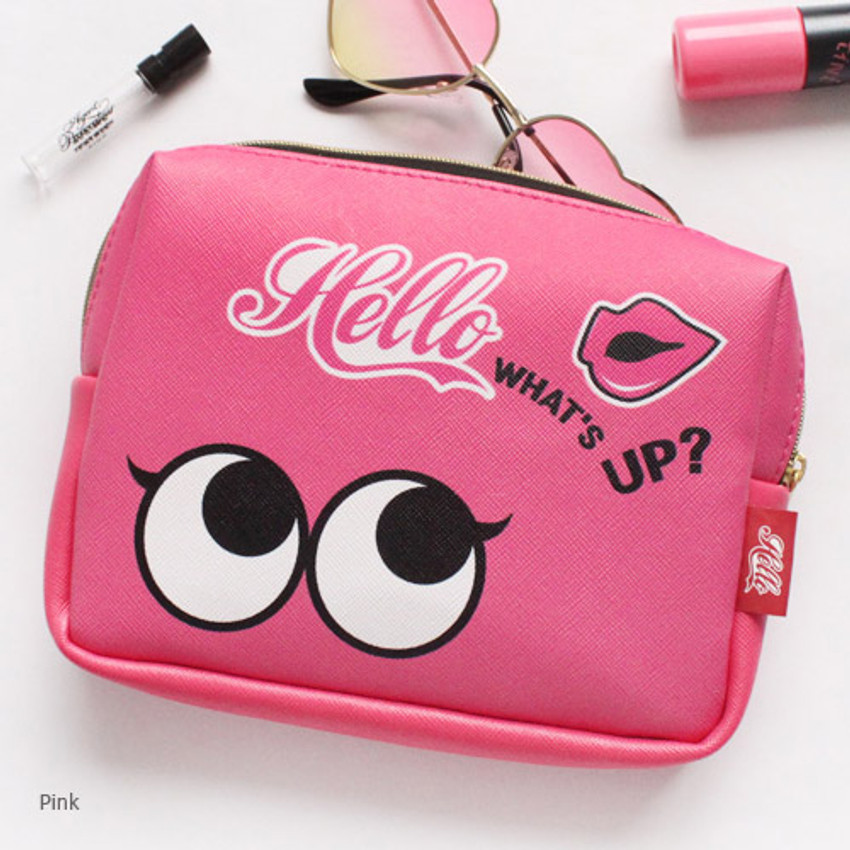 Pink - Afternoon Hello square zipper pouch