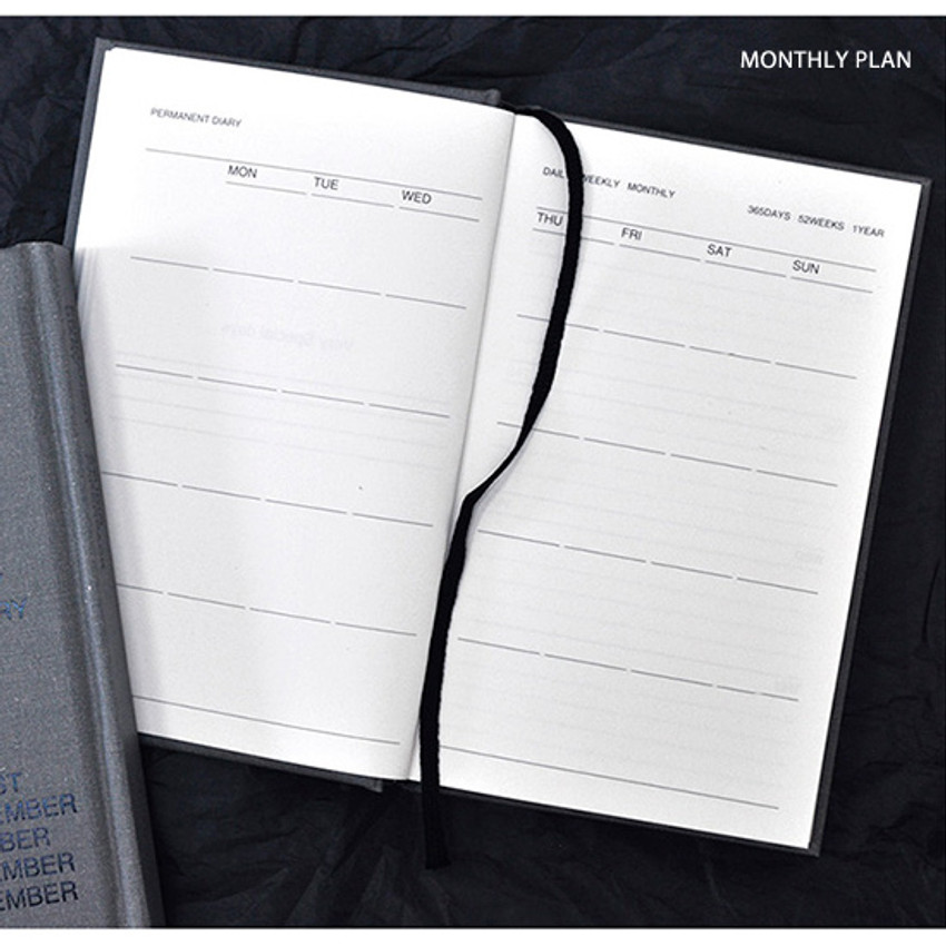 Monthly plan - Permanent hardcover undated diary planner