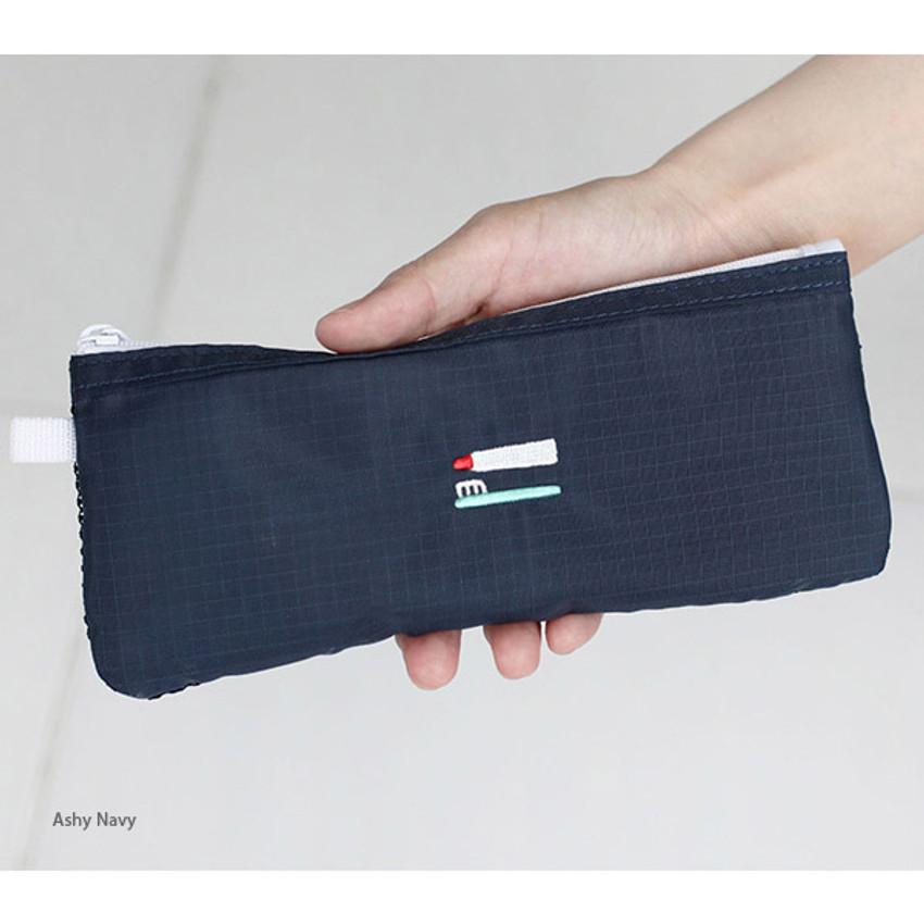 Ash navy - 2NUL Travel toothbrush slim zipper mesh pouch