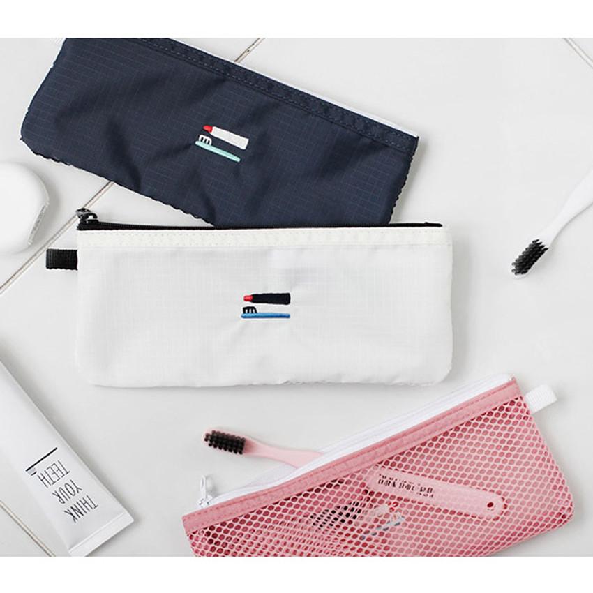 2NUL Travel toothbrush slim zipper mesh pouch