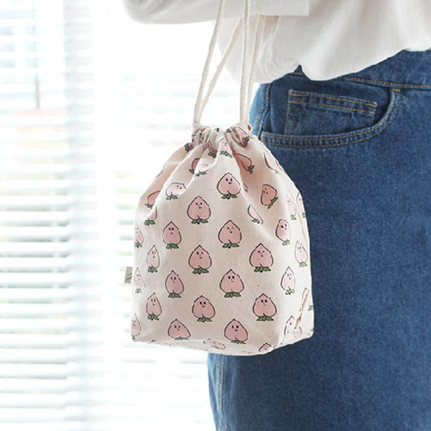 Peach - Jam Jam pattern drawstring pouch