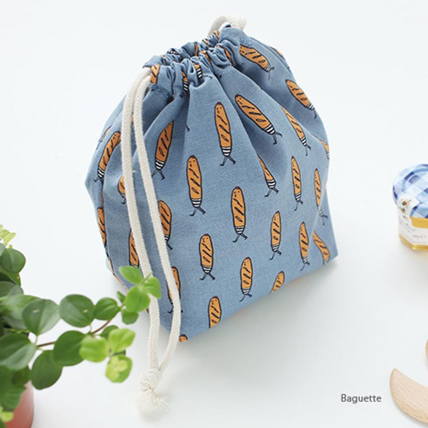 Baguette - Jam Jam pattern drawstring pouch