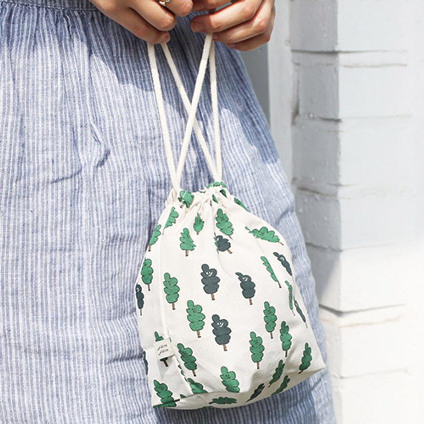 Two tree - Jam Jam pattern drawstring pouch