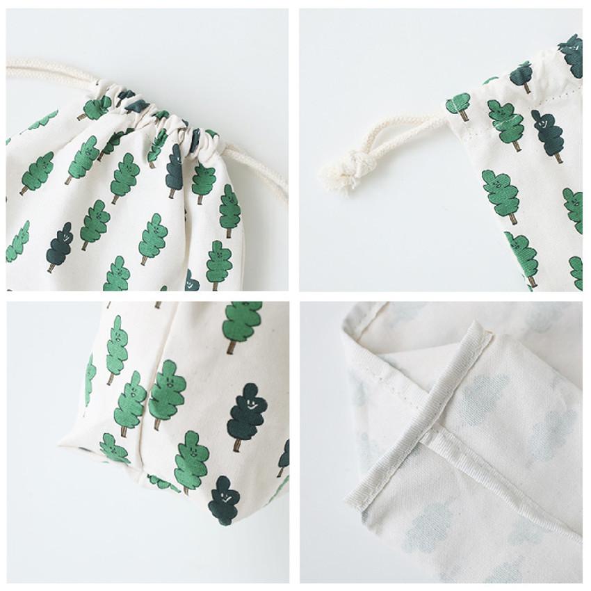 Detail of Jam Jam pattern drawstring pouch
