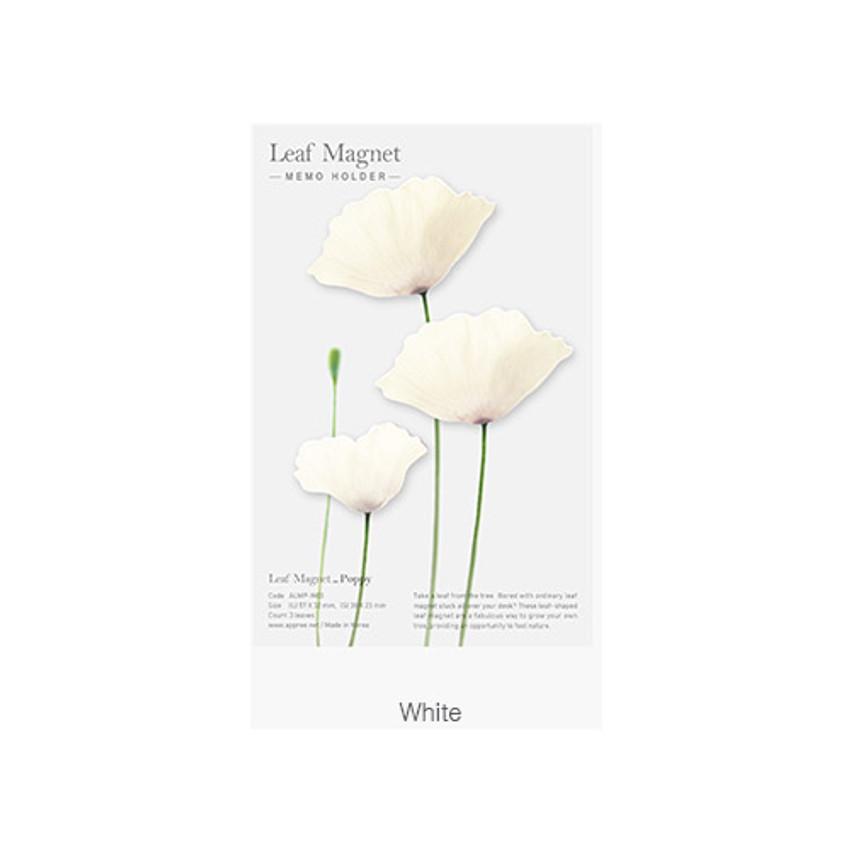 White - Poppy magnet set