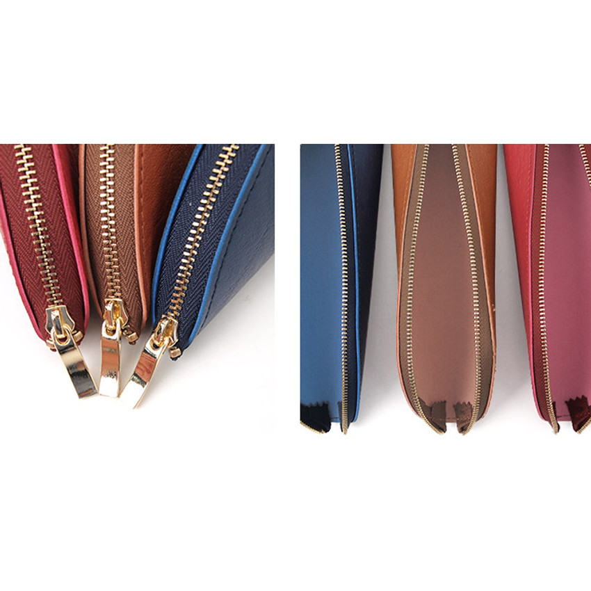 Detail of Triangle synthetic leather zipper pencil case