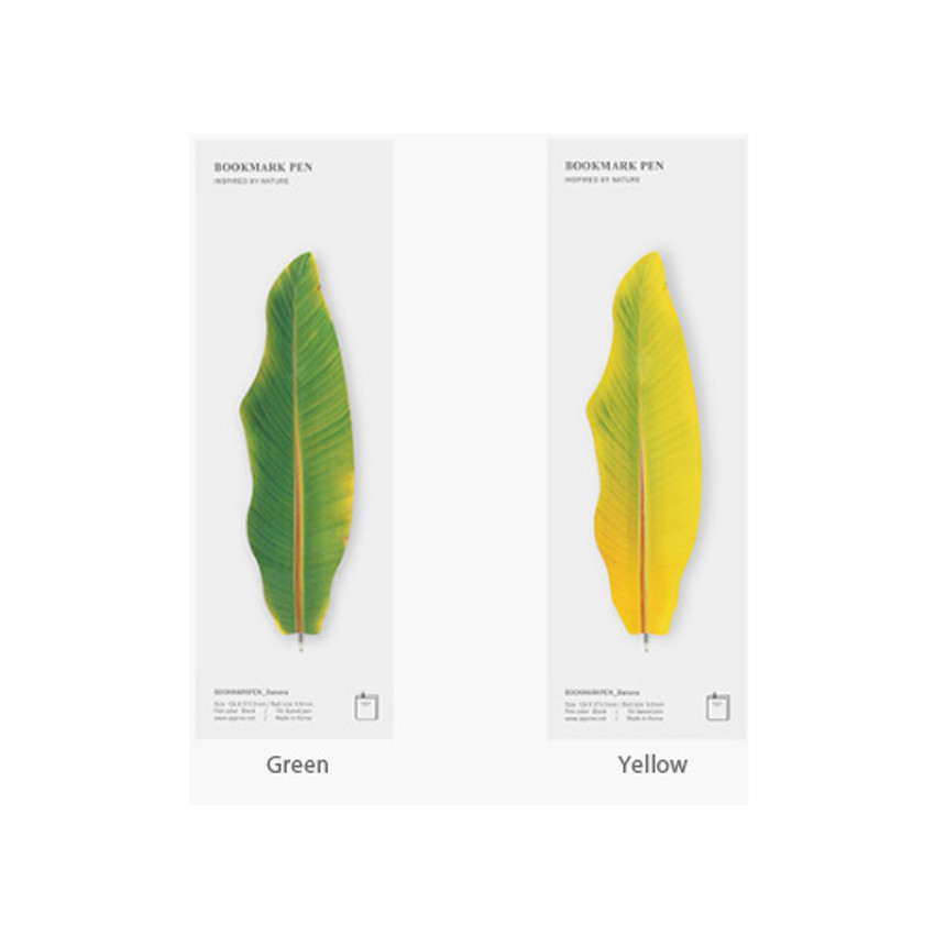 Package - Appree Banana leaf bookmark black ballpoint pen