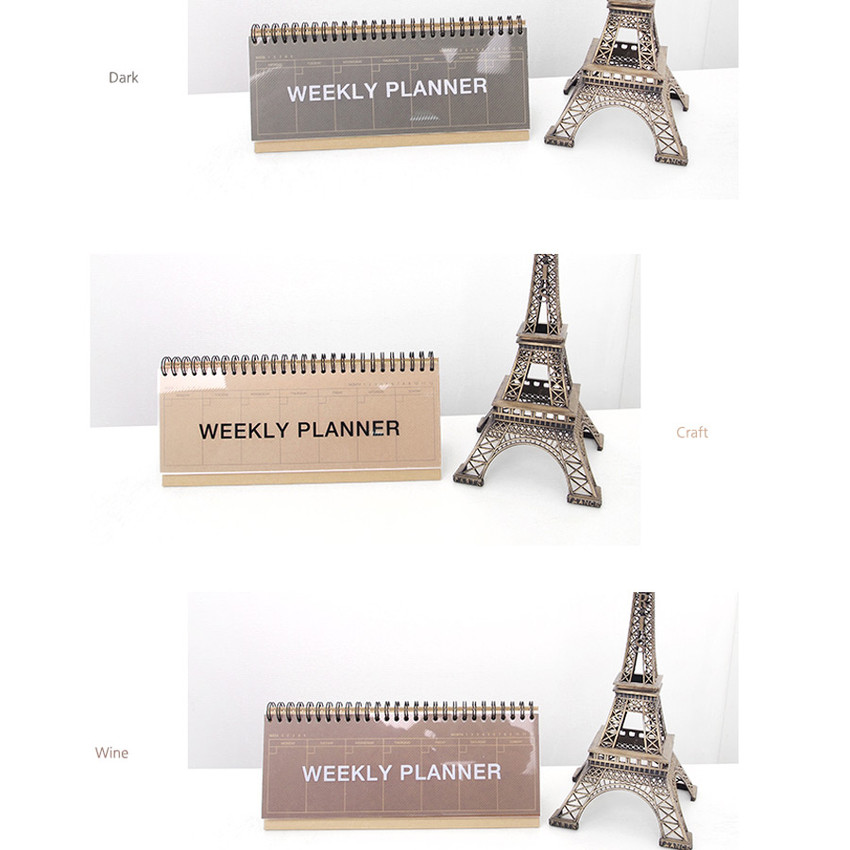 Colors of Wirebound Kraft undated weekly desk planner