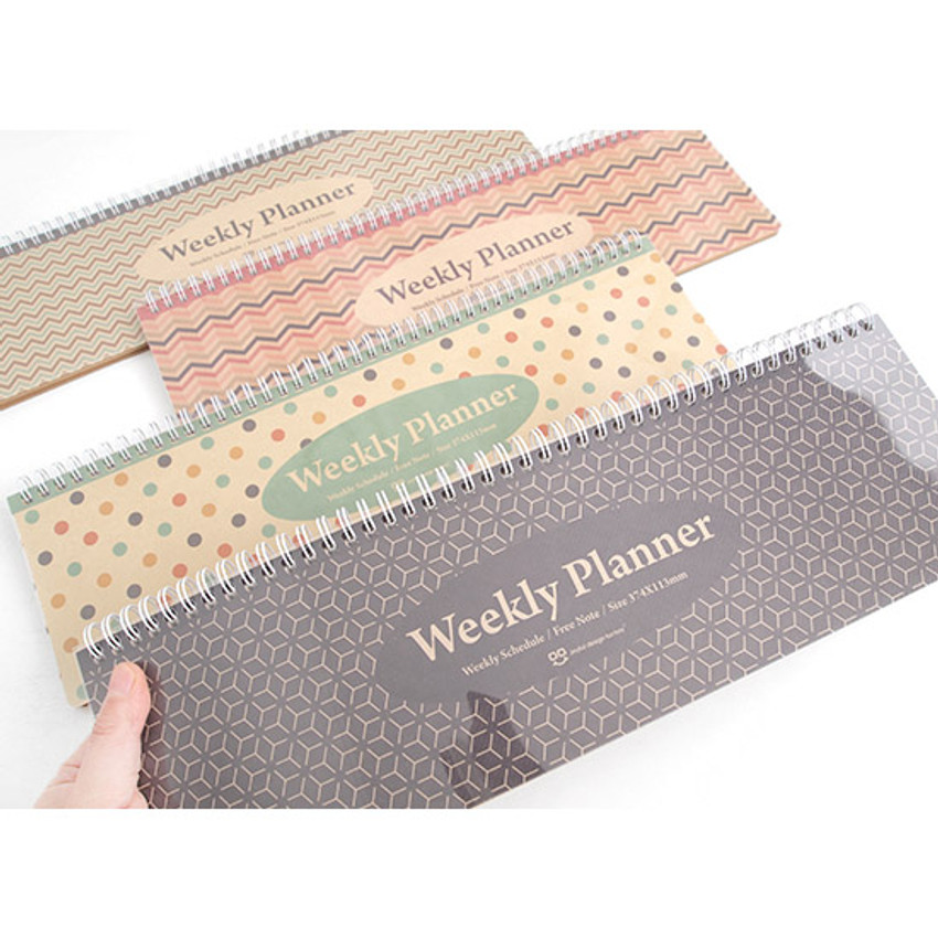 Wirebound kraft undated weekly desk planner