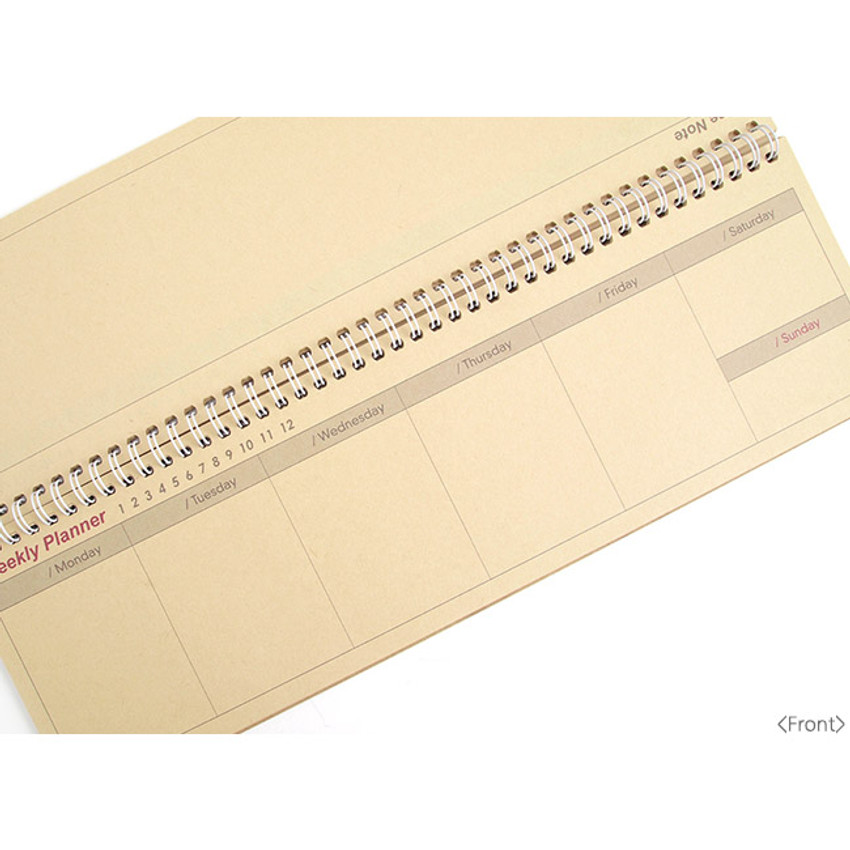 Front - Wirebound kraft undated weekly desk planner