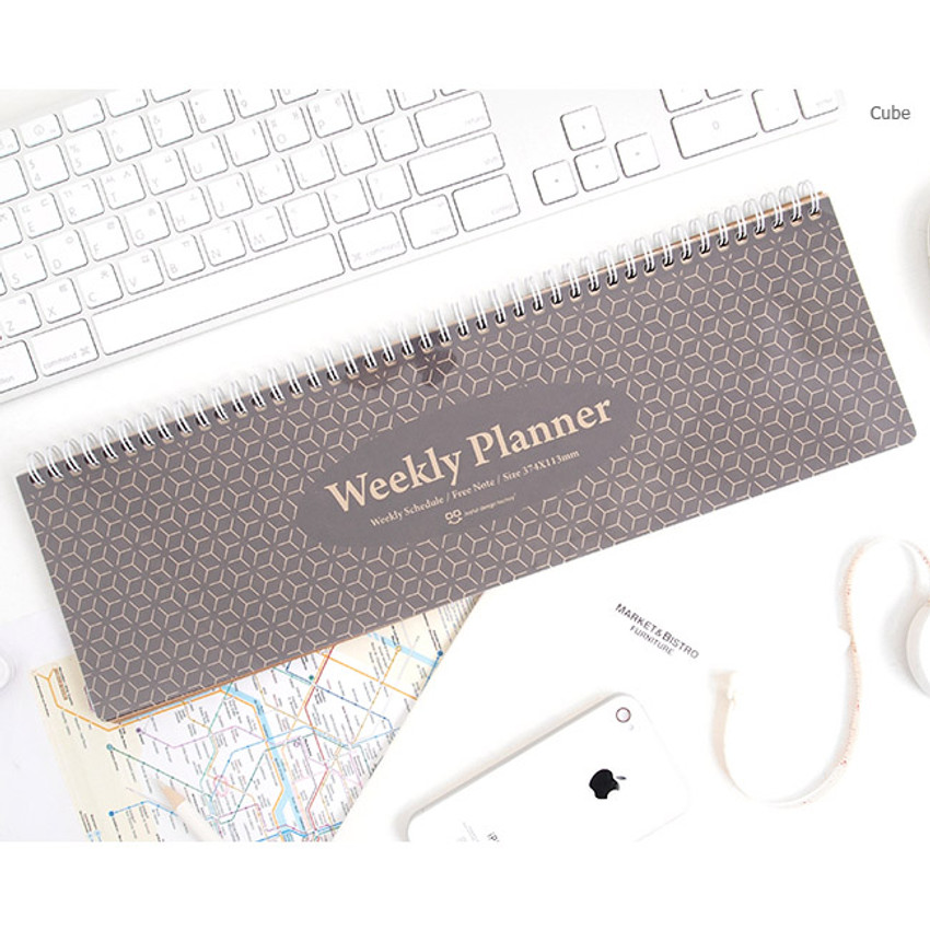 Cube - Wirebound kraft undated weekly desk planner