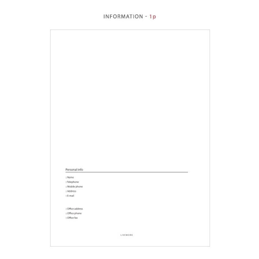 Information - Mon cahier wirebound large undated daily planner