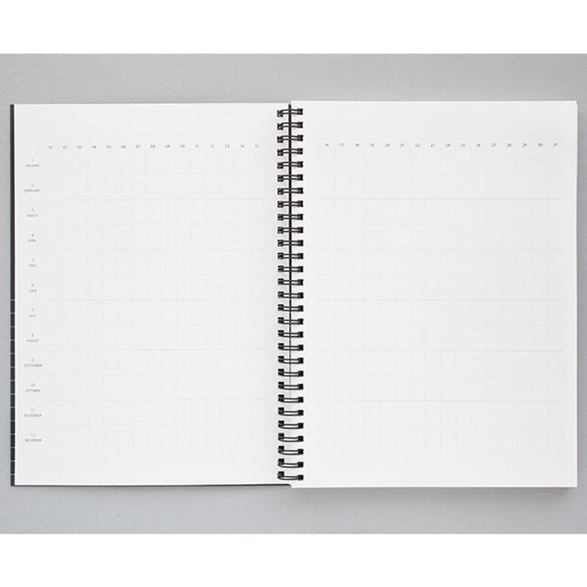 Yearly - Mon cahier wirebound large undated daily planner