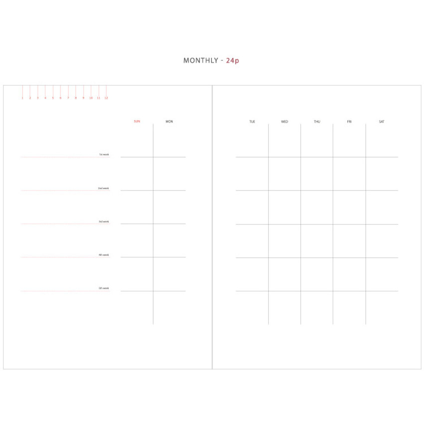 Monthly - Mon cahier wirebound large undated daily planner
