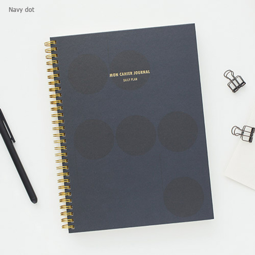 Navy dot - Mon cahier wirebound large undated daily planner
