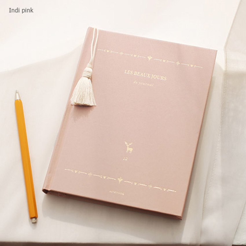 Indi pink - 2017 Les beaux jours undated diary with Tassel