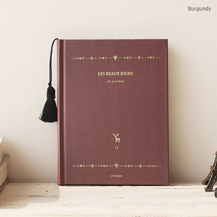 Burgundy - 2017 Les beaux jours undated diary with Tassel
