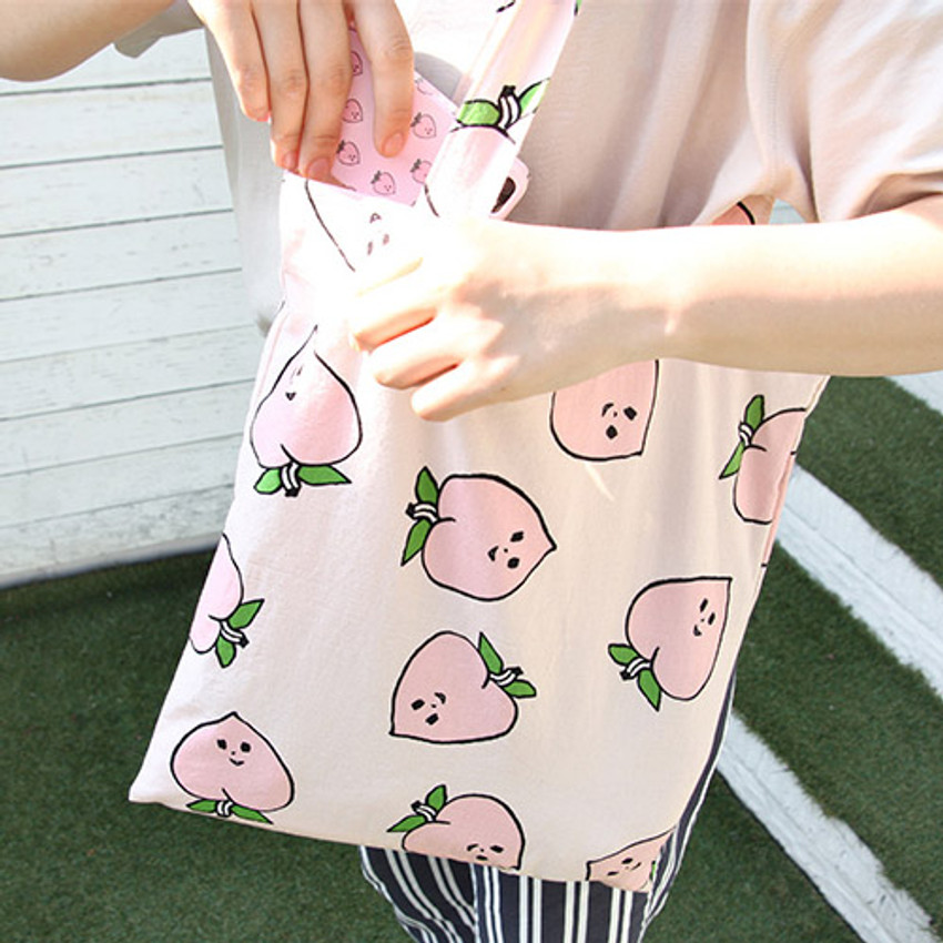 Peach - Livework Jam Jam pattern daily shoulder tote bag
