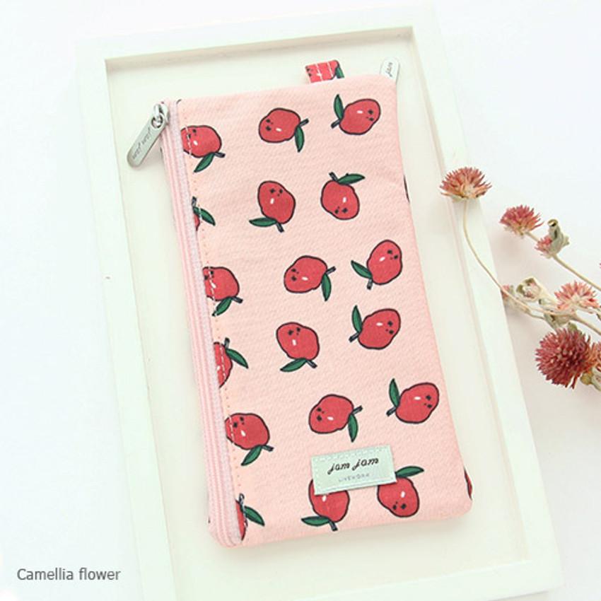 Camellia flower - Jam Jam pattern zipper pouch
