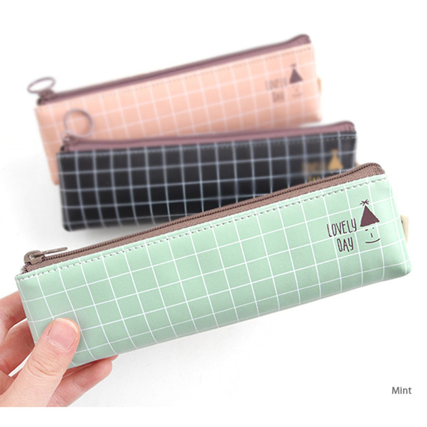 Mint - Pastel check pattern zipper pencil case
