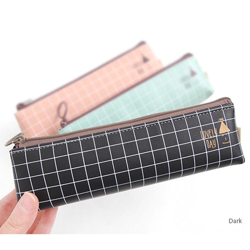 Dark - Pastel check pattern zipper pencil case