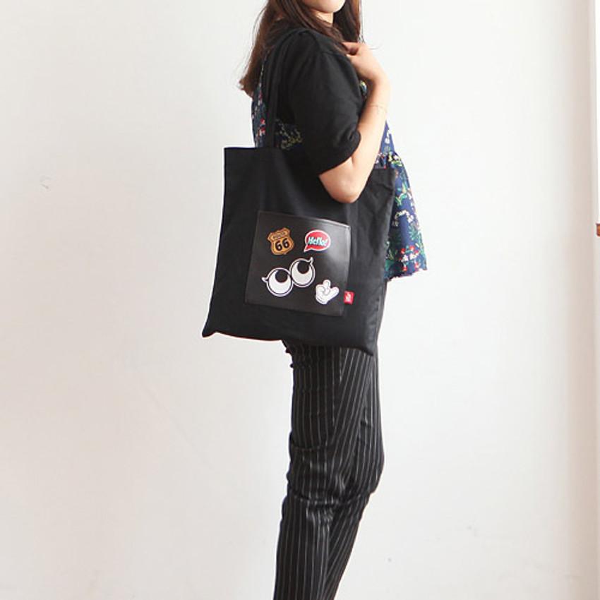 Black - Afternoon Hello cotton shoulder tote bag