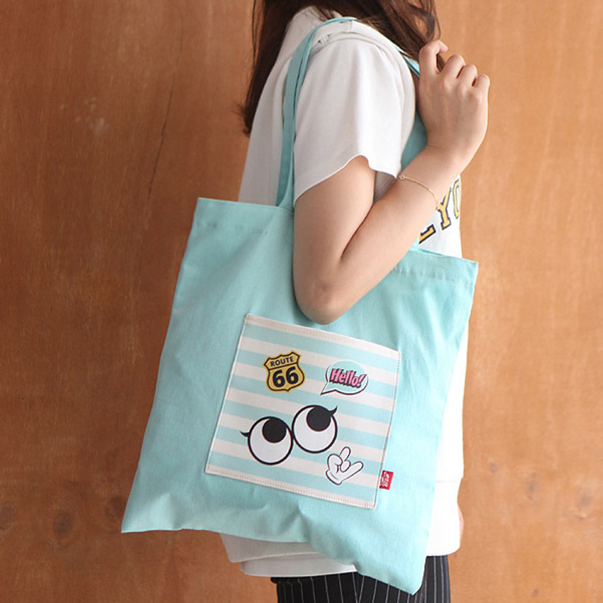 Mint - Afternoon Hello cotton shoulder tote bag