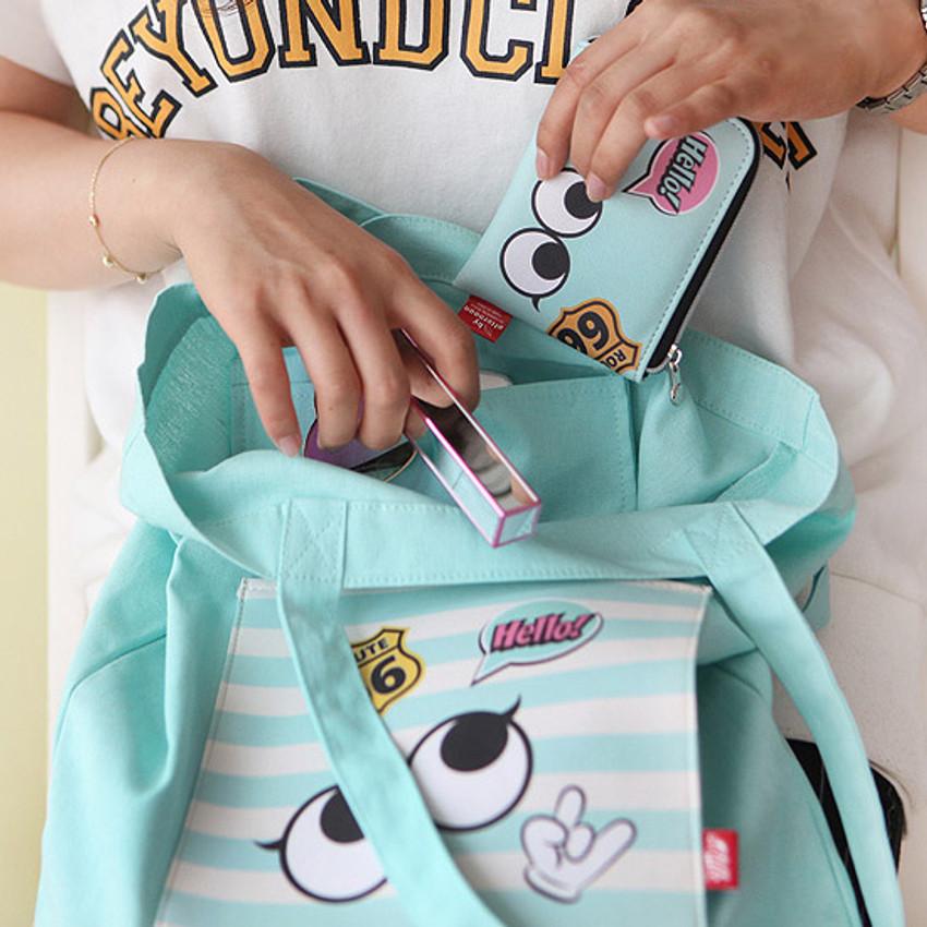 Inside pocket - Afternoon Hello cotton shoulder tote bag