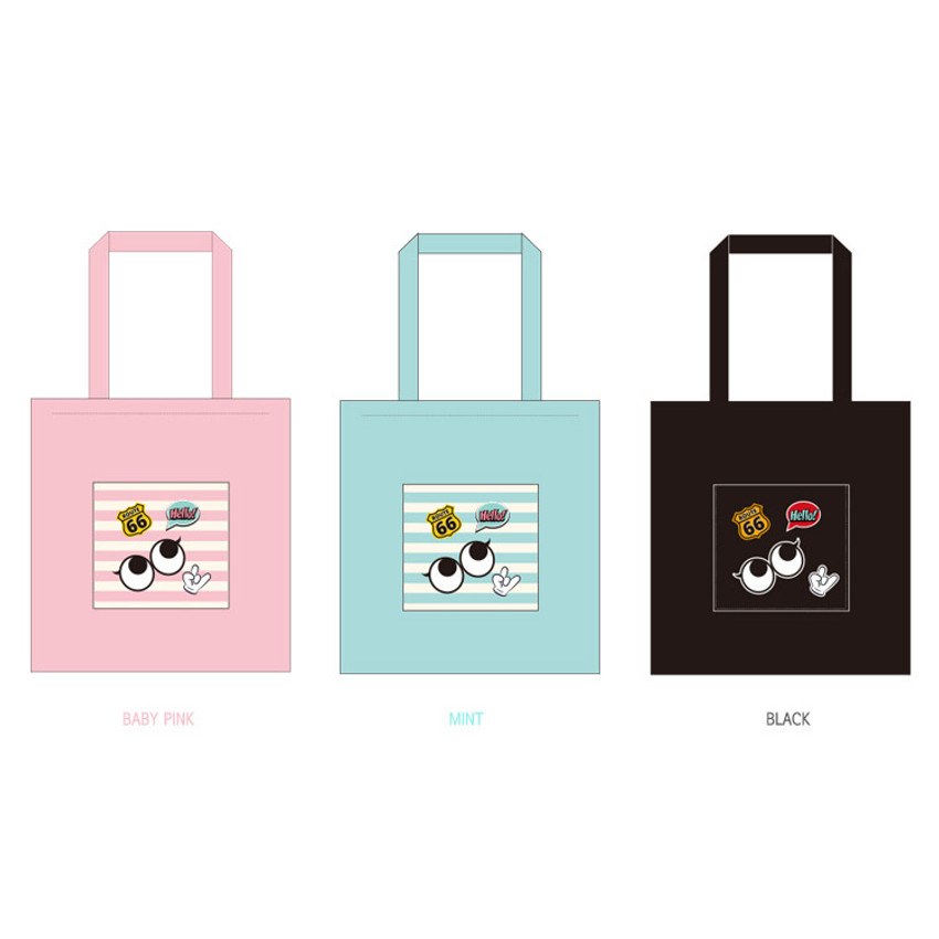 Colors of Afternoon Hello cotton shoulder tote bag