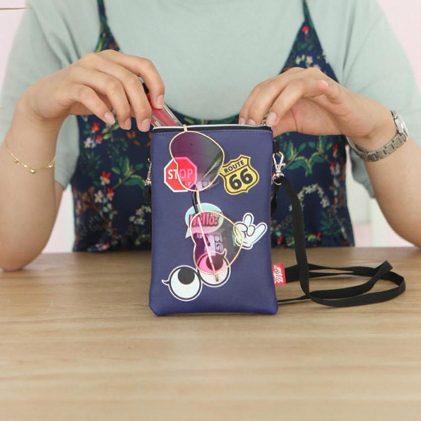 Navy - Hello cute illustration slim crossbody bag