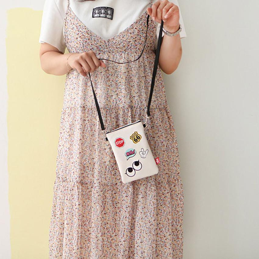 Ivory - Hello cute illustration slim crossbody bag
