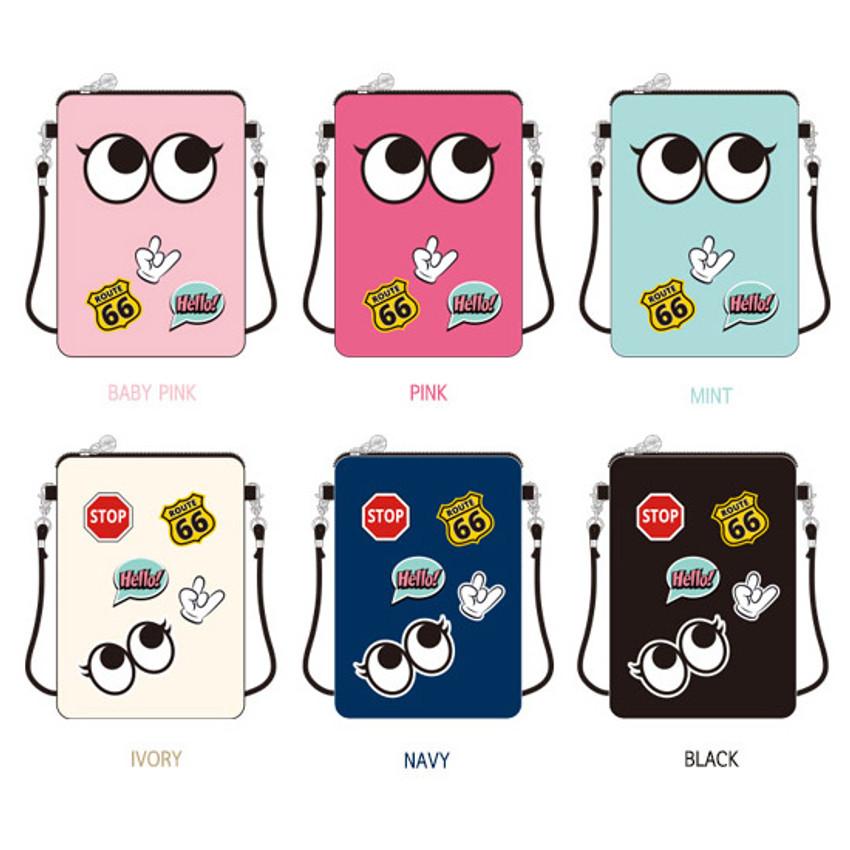 Colors of Hello cute illustration slim crossbody bag