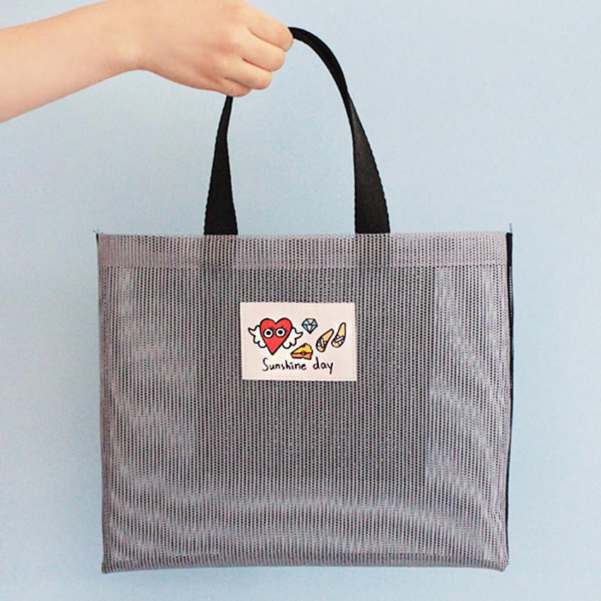 Gray - Afternoon Hello sunshine day small mesh tote bag