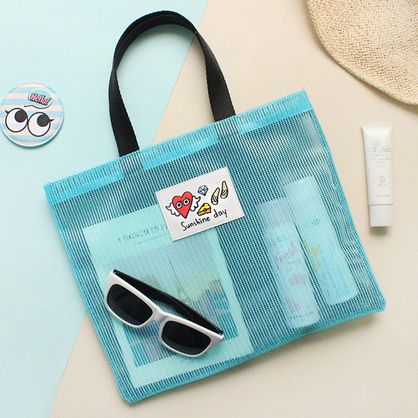 Mint - Afternoon Hello sunshine day small mesh tote bag