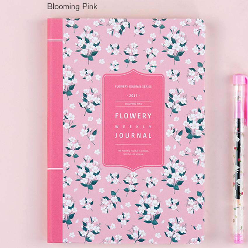Blooming pink - 2017 Flower pattern weekly dated journal