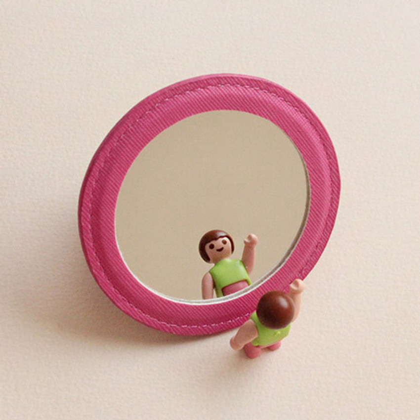 Back of Hello cute illustration round hand mirror