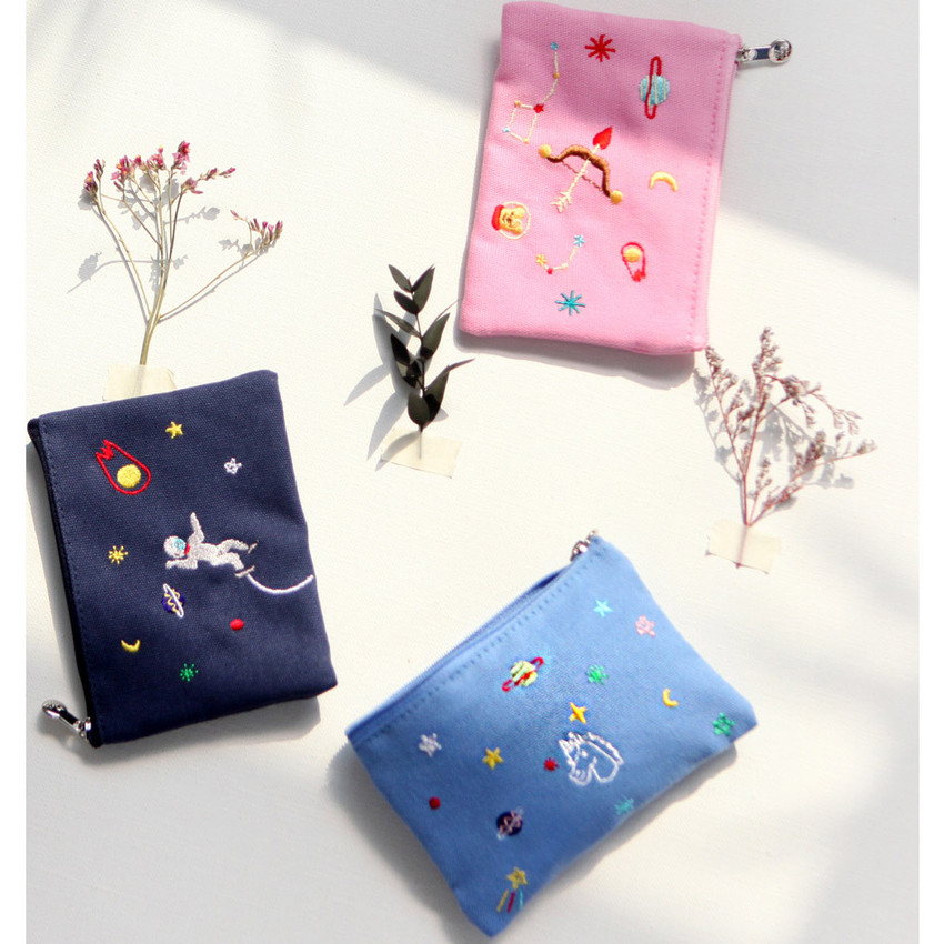 In space small cotton zipper pouch