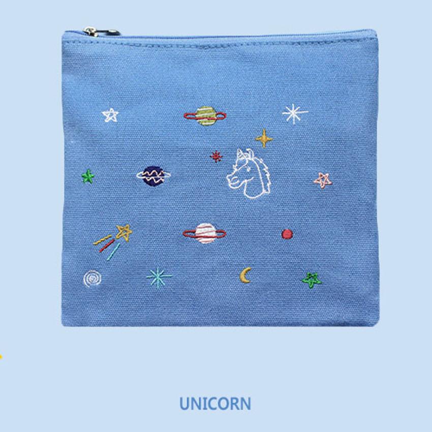Unicorn - In space medium cotton zipper pouch