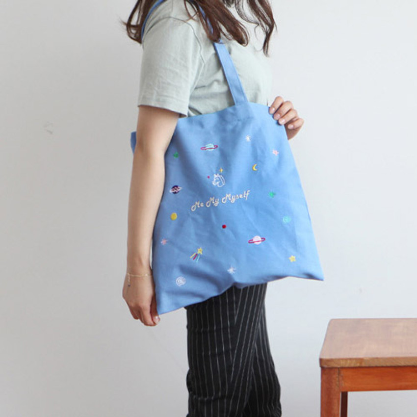 Unicorn - In space cotton shoulder tote bag