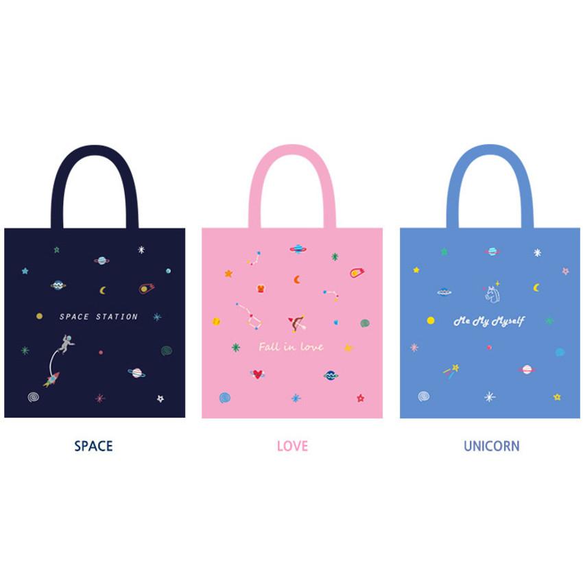 In space cotton shoulder tote bag