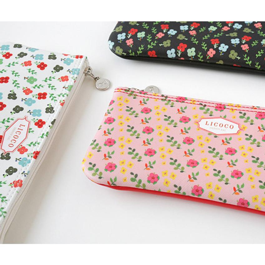 Licoco flower pattern zipper pencil case
