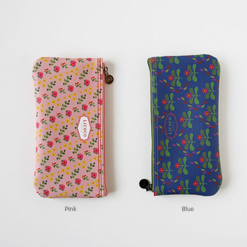 Blue, Pink - Licoco flower pattern zipper pencil case