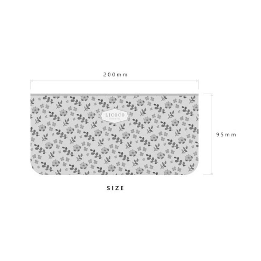 Size of Licoco flower pattern zipper pencil case