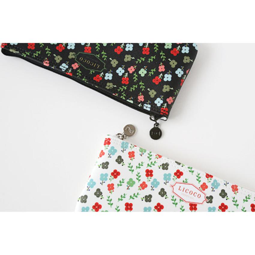 Detail of Licoco flower pattern zipper pencil case