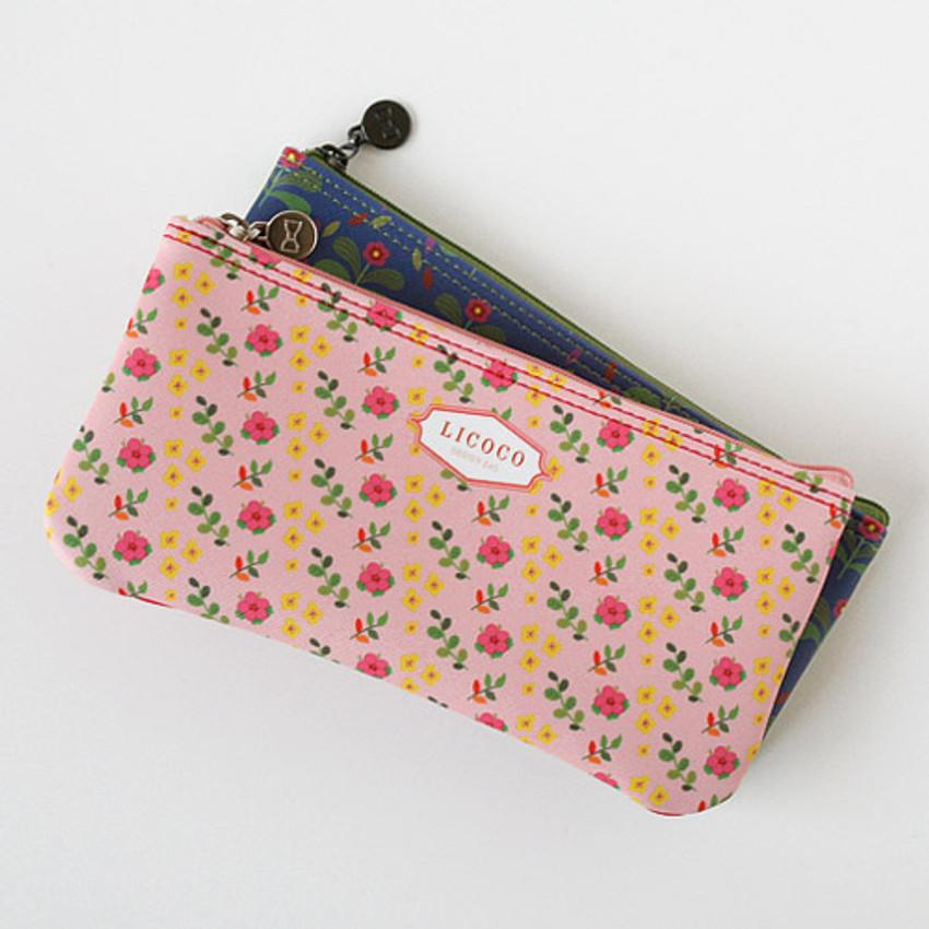 pink - Licoco flower pattern zipper pencil case