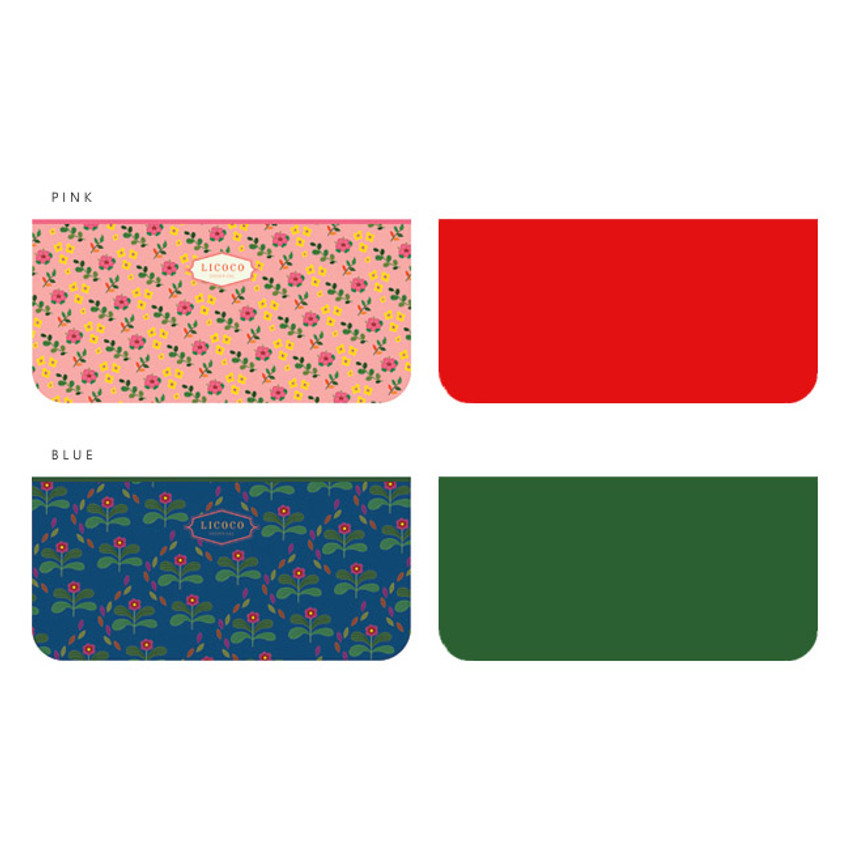 Pink, Blue - Licoco flower pattern zipper pencil case